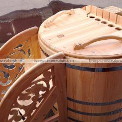 Офура (фурако) с дровяной встроенной печью из кедра