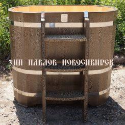 Купель овальная кедровая (Премиум) 140*78*120 см цвет (Кракелюр).