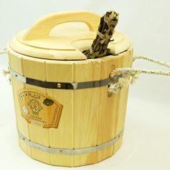 Запарник с крышкой (с пластиковой вставкой) 14 литров, кедр