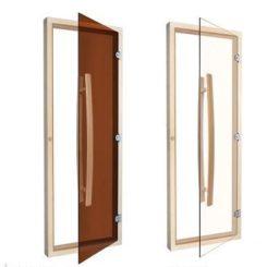 Дверь стеклянная бронза 700*1900 (кедр массив)